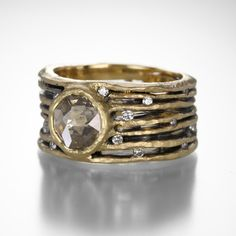 Wide Band with Rosecut Diamond by Todd Pownell @QUADRUM