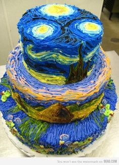 Holy cow. Vincent Van Gogh's Starry Night transformed into a cake. Talent.