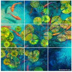 JaxsonRea 'Nueve' by Iris Scott 9 Piece Painting Print on Wrapped Canvas Set Size: Artist Painting, Painting Frames, Painting Prints, Paintings, Underwater Painting, Lily Painting, Iris, Carpe Koi, Glass Printing