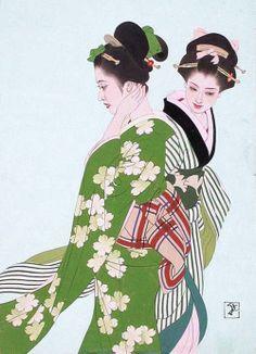 blackcoffeecinnamon:Shimura Tatsumi (1907-1980) 志村立美 Women Wearing Various Greens 緑尽着の女たち, 1955 Japanese Art Modern, Japanese Prints, Japanese Culture, Geisha Drawing, Geisha Art, Illustrations, Illustration Art, Art Occidental, Inspiration Artistique