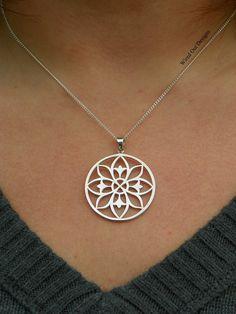 Sterling Silver Open Work Mandala Necklace - Large