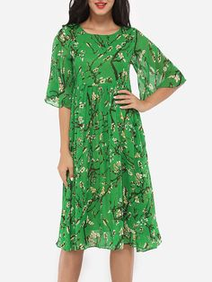 Round Neck Cotton Floral Printed Skater-dress