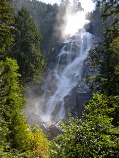 Shannon Falls, Squamish, B.C., Canada. It is the third highest waterfall in British Columbia.