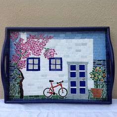 26 Coolest Wooden Home Crafts - Room Dekor 2020 Mosaic Flower Pots, Mosaic Pots, Mosaic Garden, Mosaic Glass, Mosaic Tiles, Garden Art, Glass Art, Mosaics, Pebble Mosaic