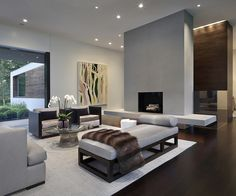 Gray brings style and sophistication to the living room - New Canaan Residence: A Contemporary Escape Draped in Greenery