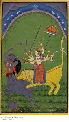 Durga slaying the demon Mahishasura ! Also known as Mahishasuramardini, Bikaner,Rajasthan, circa 1750 CE. Ancient Indian Art, Indian Folk Art, Rainbow Serpent, Lord Shiva Hd Images, Kerala Mural Painting, Alchemy Art, Hindu Culture, Demon Art, Durga Goddess