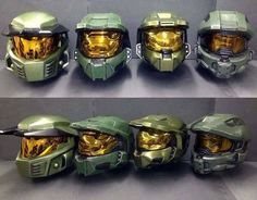 Chief's Helmet Evolution. Halo CE, Halo 2, Halo 3, and Halo 4-5