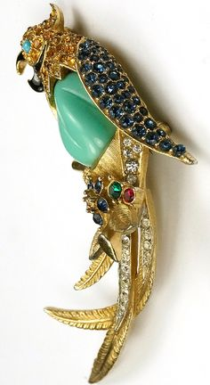 Boucher Gold Turquoise Belly and Sapphire Parrot on Branch with Flowers Pin