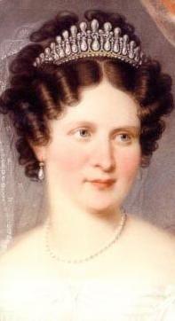 Königin Therese von Bayern, geborene Prinzessin von Sachsen-Hildburghausen, dargestellt mit der sogenannten Liebesknotentiara, Ausschnitt aus einem Gemälde von Lorenz Kreul, 1826