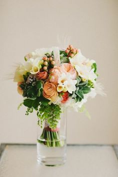 Pixies Petals Designs -  Peach and Ivory Wedding Bouquet