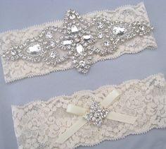 Ivory Lace Crystal Bridal Garter Set Keepsake And Toss Garters Wedding Heirloom Bride