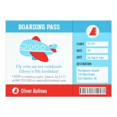 Blue Airplane Boarding Pass Birthday Party 45x625 Paper Invitation Card Invitations