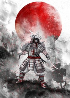 """Banzai [ The warrior on the hill] II"" metal poster by Marine Loup #samurai"