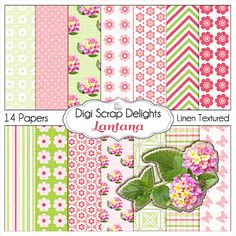 Lantana Pink and Green Digital Papers  Buy 2 Get 1 Free Digital Scrapbook Paper Pack for Scrapbooking, Card Making, Photo Backgrounds. $3.00, via Etsy.