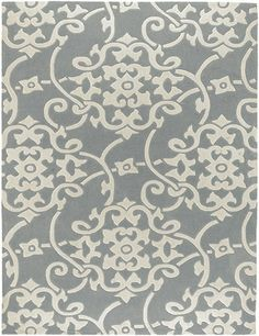 Silver and White Damask Rug