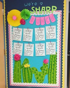 Ready for a fan-cactus year! Ready for a fan-cactus year! First Grade Classroom, New Classroom, Kindergarten Classroom, Classroom Ideas, Elementary Classroom Themes, Diy Classroom Decorations, School Decorations, School Themes, Cactus Decor
