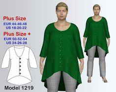 Tunic PDF Sewing Pattern Women's Plus size Tunic sizes 18-28, pdf pattern