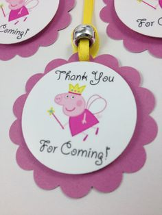Personalized Peppa Pig Treat Bag Tags Ties by UniquePartySupply, $3.50