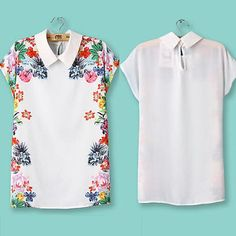 Fashion Women Ladies'Lapel Collar Flower Printed Short Sleeve T-Shirt Top Blouse | eBay