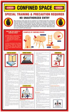 CONFINED SPACES (ENGLISH) This a required OSHA poster for confined areas in the workplace. This poster clearly outlines and educates both the employers and employees on the cautionary measures that must be undertaken to ensure safety. VISIT: http://www.allinoneposters.com/s.nl/it.A/id.174/.f?sc=8&category=4  #OSHAPosters
