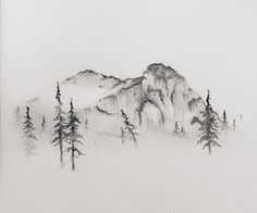 shantiwinds: I'll never get bored of drawing mountains ↟. ditto shantiwinds: I'll never get bored of drawing mountains ↟. Drawing Sketches, Art Drawings, Sketching, Drawing Ideas, Tree Sketches, Landscape Drawings, Natur Tattoos, Tatoo Art, Tattoo Hip