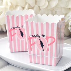 Set of 10 Ready To Pop Pink Baby Shower Boxes w/ Handle Favor Box
