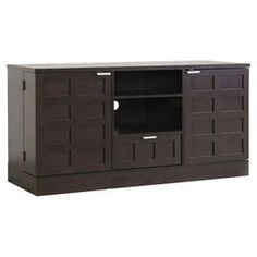 """Offering 2 spacious cabinets, 1 drawer, and 2 open cubbies for storing accessories and remotes, this stylish media console combines traditional design with contemporary paneling.   Product: Media consoleConstruction Material: Engineered wood and wood veneersColor: Dark brownFeatures:  Two cabinetsOne drawerTwo open cubbies with one adjustable shelf Cable management systemDimensions: Drawer Interior: 5"""" H x 15.7"""" W x 15"""" DShelf: 6"""" H x 17.8"""" W x 19.2"""" DOverall: 28.5"""" H x 56.5"""" W x 20"""" ..."""
