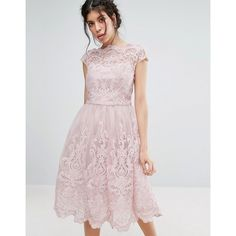 Chi Chi London Premium Lace Midi Prom Dress with Bardot Neck (140 CAD) ❤ liked on Polyvore featuring dresses, pink, pink party dresses, pink lace dress, off the shoulder prom dresses, lace dress and party dresses