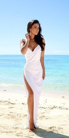 2016 Sexy Summer Wedding Dresses Spaghettis Straps High Side Slit Backless Beach…