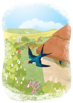 Art Giclee print of a swallow darting from a nest in the eaves of a house 10 English pounds,  May - Sally Elford