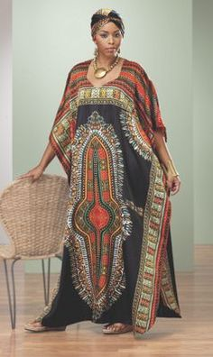 """African fashion - A look befitting royalty! Caftan is adorned with a vibrant print and has an elegant Queen Anne neckline. Bonus scarf. 54"""" l. Available only in Black/Multi. Polyester. Machine wash. Imported. One size fits most"""