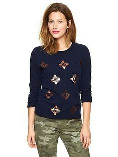 Metallic printed sweatshirt | Gap / Navy with rose gold