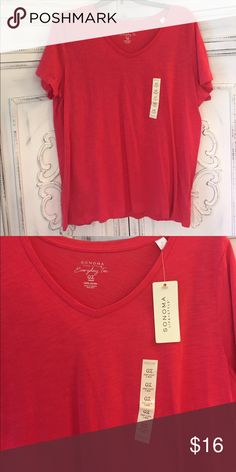 NWT Sonoma hot pink Short Sleeve Top Vneck Tee. Light weight. 100% cotton. Selling many other colors of the same shirt. Also listed as Bundle. Sonoma Tops Tees - Short Sleeve