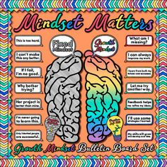 Growth Mindset Bulletin Board: It can be difficult working with students who exhibit negative self-talk all year long. Combat those fixed mindsets by promoting positive self-talk! This classroom decor pack will help all students Growth Mindset Display, Growth Mindset Classroom, Growth Mindset Activities, Growth Mindset Posters, Health Bulletin Boards, College Bulletin Boards, Counseling Bulletin Boards, Behavior Bulletin Boards, Bulletin Board Ideas For Teachers