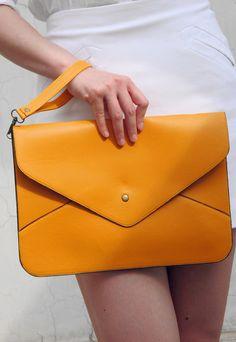 Oversize Vegan Leather Envelope Clutch - Light Brown Orange Purse Bag Handbag - Women Ladies - Handmade