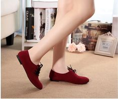 Casual Nubuck Leather lace-Up Flat Shoes – Benovafashion Lace Up Flats, Suede Shoes, Flat Shoes, Big Fashion, Fashion Shoes, Pointed Toe Flats, Doll Shoes, Leather And Lace, Casual Shoes