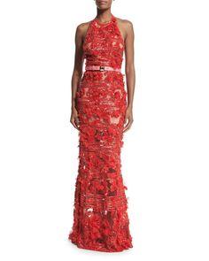 W0AU6 Elie Saab Embroidered Tulle Halter-Neck Gown, Lipstick