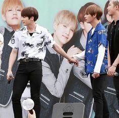 Jungkook puting oppa's hand :3