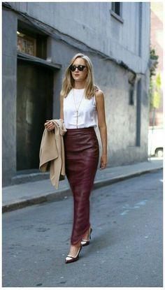 Maxi length faux leather sheath skirt
