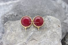 earrings connector post stud red jade setting by madameperlina