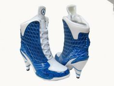 Nike Air Jordan high heels - just getting silly now! this for real? Jordan Heels, Jordan Boots, Jordan Shoes For Women, Cheap Jordan Shoes, Air Jordan Shoes, Jordan Sneakers, Adidas Kids Shoes, Nike Free Shoes, Nike Shoes Outlet