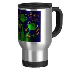 Funny Frog Folk Art Design Mug or Travel Mug #frogs #funny #mugs #art #travel #animals #cartoon #folkart #zazzle #petspower #gifts