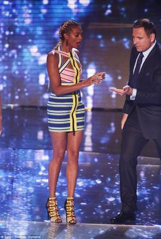 Helping hand: The former Mis-Teeq singer lost her earring, but fellow judge David Walliams was there to assist Black Combat Trousers, Alexa Dixon, Amanda Holden, Britain Got Talent, Tv Presenters, West London, Hollywood Celebrities, Black Crop Tops, Celebrity Style