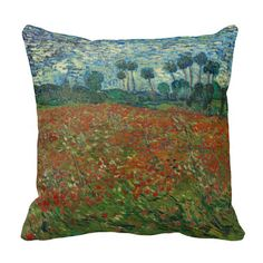 #Poppy Field by Vincent Van Gogh Throw #Pillows #vangogh #throwpillow #poppies #landscape #flowers #painting