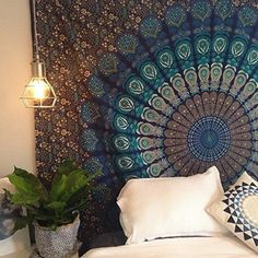 Blue Hippie Tapestry, Hippy Mandala Bohemian Tapestries, Indian Dorm Decor, Psychedelic Tapestry Wall Hanging Ethnic Decorative