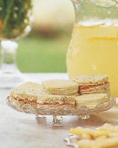 The tiny bits of red pear peeking from these tea sandwiches will be a pretty accent to your white spread.