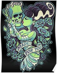 Title: Made For You Artist: Jehsee This canvas giclee features a pin up illustration of the Bride of Frankenstein. Made-to-order Jehsee canvas fine art reproductions on canvas. Stretched and ready to Halloween Wall Decor, Halloween Art, Halloween Canvas, Halloween 2017, Modern Halloween, Halloween Quotes, Pin Up Illustration, Halloween Illustration, Geniale Tattoos