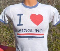 vintage 80s t-shirt i love JUGGLING heart 80s ringer by skippyhaha