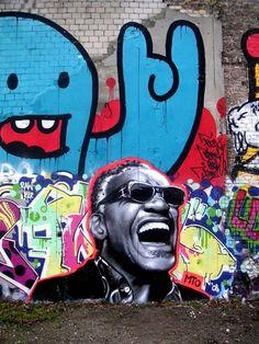 Ray Charles by MTO (Graffiti Street art) Banksy, Graffiti Artwork, Mural Art, Wall Art, Grafitti Street, Murals Street Art, Amazing Street Art, Awesome Art, Art Graphique