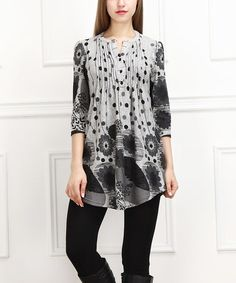 Look what I found on #zulily! Gray & Charcoal Floral Notch Neck Tunic #zulilyfinds